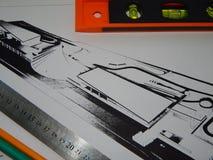 Архитектурноакустическая работа архитектора проектов, дизайн стоковые фотографии rf