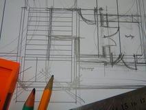 Архитектурноакустическая работа архитектора проектов, дизайн стоковое фото