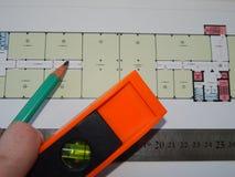 Архитектурноакустическая работа архитектора проектов, дизайн стоковые изображения