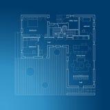 Архитектурноакустическая светокопия с планом Стоковое Изображение