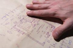 Архитектурноакустические бумаги проекта жилищного строительства Стоковые Фотографии RF