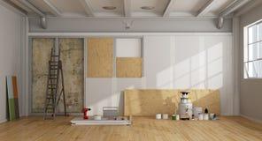 Архитектурноакустические восстановление и изоляция старой стены иллюстрация штока