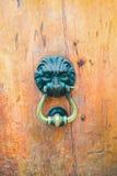 Архитектурноакустические детали - старое knoker двери с львом Стоковые Изображения RF