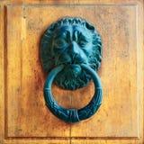 Архитектурноакустические детали - старое knoker двери с львом Стоковая Фотография RF