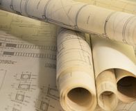 Архитектурноакустические планы для конструкции стоковые фотографии rf