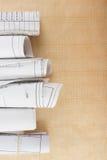 Архитектурноакустические светокопии и крены светокопии на белой предпосылке Стоковые Фото