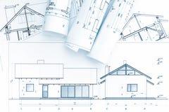 Архитектурноакустические светокопии и план дома стоковое изображение