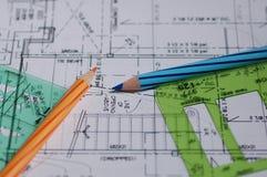Архитектурноакустические чертежи стоковое фото rf