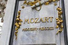 Архитектурноакустические элементы памятника Mozart созданного в 1896 в вене стоковые фото