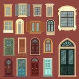 Архитектурноакустический комплект европейских винтажных дверей и Windows Стоковые Фото