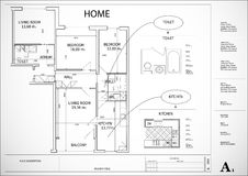 Архитектурноакустический план дома Стоковое Фото
