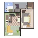 Архитектурноакустический план здания цвета Квартира спален Стоковое фото RF