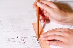 архитектурноакустический план карандаша руки чертежа Стоковое Изображение RF