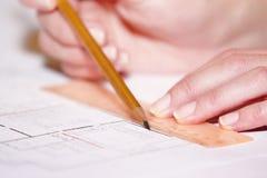 архитектурноакустический план карандаша руки чертежа Стоковая Фотография
