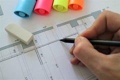 Архитектурноакустический проект плана чертежа карандаша Стоковое Фото