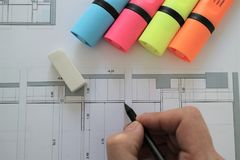 Архитектурноакустический проект плана чертежа карандаша Стоковая Фотография