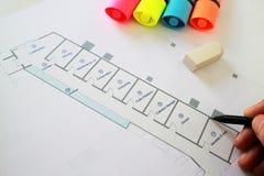 Архитектурноакустический проект плана чертежа карандаша Стоковое Изображение