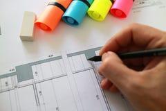 Архитектурноакустический проект плана чертежа карандаша Стоковая Фотография RF