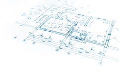 Архитектурноакустический проект, светокопия плана здания, план строительства, Стоковые Фотографии RF