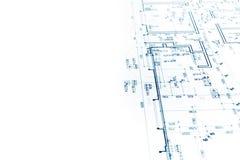 Архитектурноакустический проект, светокопия плана строительства, технический Д-р Стоковая Фотография