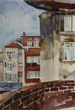 Архитектурноакустический эскиз акварели зданий в distr Beshiktash Стоковые Фотографии RF