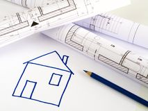 архитектурноакустический эскиз плана дома Стоковое фото RF