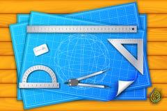 архитектурноакустическо по мере того как предпосылка используемая тростильная машина Иллюстрация вектора, Стоковое Изображение RF