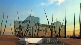 Архитектурный дизайн кубического дома Стоковые Изображения RF