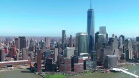 Архитектуры небоскреба Манхаттана район Нью-Йорка городской финансовый в изумлять воздушный взгляд городского пейзажа панорамы 4k видеоматериал