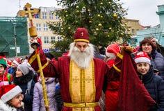 Ассистенты парада St Nicholas в Uzhgorod Стоковое Изображение RF