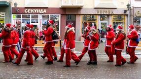 Ассистенты парада St Nicholas в Uzhgorod Стоковая Фотография RF