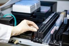 Ассистент лаборатории устанавливает образец в приборе для анализа, конца-вверх стоковая фотография rf