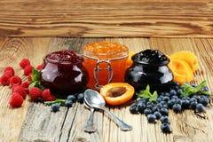 Ассортимент варениь, сезонных ягод, абрикоса, мяты и плодоовощей стоковые изображения rf