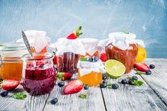 Ассортимент варениь ягоды и плода стоковые фотографии rf