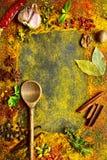 Ассортимент естественных специй Взгляд сверху с космосом экземпляра стоковое изображение