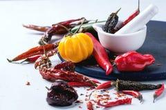 Ассортимент перцев горячего chili Стоковые Изображения RF