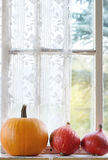Ассортимент различных тыкв на силле окна Стоковые Фотографии RF