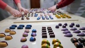 Ассортимент роскошного handmade собрания конфеты шоколада на белой таблице Комплект красочных bonbons шоколада Женщины акции видеоматериалы