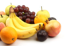 Ассортимент свежих фруктов изолированных на белизне Стоковое Фото