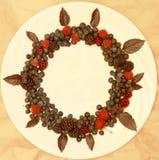 Ассортимент свежо скомплектованных ягод на белой предпосылке сформированной как круг стоковое фото rf