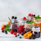 Ассортимент сезонных ягод и приносить варенья в опарниках стоковое фото rf