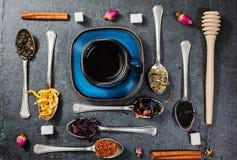 Ассортимент сухого чая и чашка горячего чая Зеленый чай, черный чай, зеленый чай, rooibos, сушит розовые бутоны в ложках Стоковое фото RF
