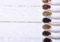 Ассортимент сухого чая стоковое изображение rf