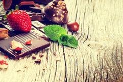 Ассортимент точных шоколадов и пралине Стоковая Фотография