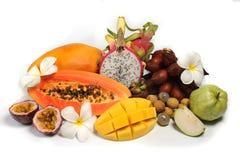 Ассортимент экзотических плодоовощей изолированных на белизне Стоковая Фотография