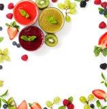 Ассортимент smoothie с ингридиентами Стоковые Изображения