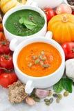 ассортимент vegetable cream супов и ингридиентов, вертикальный Стоковая Фотография RF