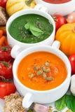 Ассортимент vegetable cream супов и ингридиентов, взгляд сверху Стоковые Фото