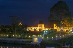 АСТАНА на зоре вдоль портового района Kuching Стоковые Изображения RF