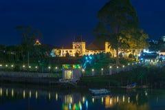 АСТАНА на зоре вдоль портового района Kuching Стоковая Фотография RF